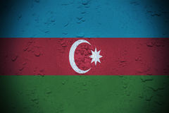 Wet window background with blending  Azerbaijan flag Royalty Free Stock Photography