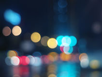 Wet window with background of night city Royalty Free Stock Images