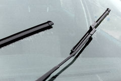 Wet Windshield Reflections Patterns Textures and Wiper Blades Stock Image