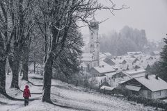 Wet winter day in nesselwang stock photo