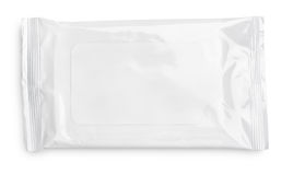 Wet wipes package with flap on white. Wet wipes package with flap isolated on white background stock photography