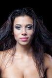 Wet woman. Bruntette wet woman portrait topless Stock Photo