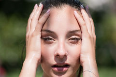 Wet woman face Royalty Free Stock Photo