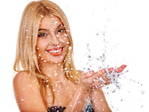 Wet woman face with water drop Royalty Free Stock Images