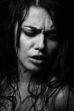 Wet woman portrait with water drops on the face. Black and white Stock Photos