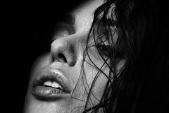 Wet woman portrait with water drops on the face. Black and white Royalty Free Stock Photo