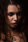 Wet woman portrait with water drops on the face. Wet girl portrait with water drops on the face Royalty Free Stock Image