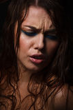 Wet woman portrait with water drops on the face Royalty Free Stock Photo