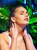 Wet woman with water drop. Stock Photography