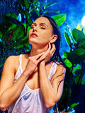 Wet woman with water drop Stock Image