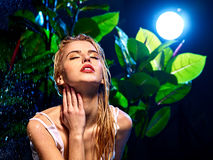 Wet woman with water drop Royalty Free Stock Photo