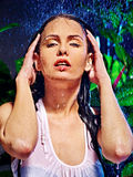 Wet woman with water drop. Stock Images