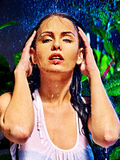 Wet woman with water drop. Royalty Free Stock Images