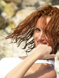 Wet woman in white Stock Image