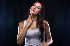 Wet woman in white t-shirt Royalty Free Stock Photo
