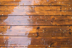 Wet wooden floor royalty free stock photography