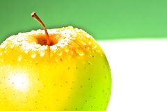 Wet yellow apple with space for text Stock Image