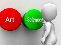 Wetenschap Artistiek Art Buttons Shows Scientific Or Stock Foto's