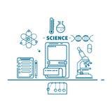 Wetenschap, conceptenkopbal, de vlakke stijl van de ontwerp dunne lijn, illustratie Stock Fotografie