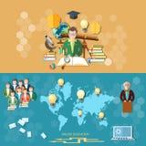 Wetenschap en onderwijs, afstandsonderwijs, banners Royalty-vrije Stock Foto