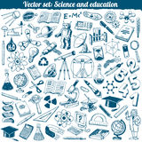 Wetenschap en Onderwijs de Vector van Krabbelspictogrammen Stock Afbeelding