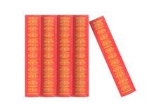 Wetenschap en onderwijs - horizontale groep van vijf rode boekenwhit Royalty-vrije Stock Fotografie