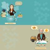 Wetenschap en onderwijs: leraar, student, professor, lessen, vectorbanners Stock Afbeelding