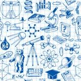Wetenschap en Onderwijs Naadloos Patroon Stock Afbeeldingen