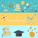 Wetenschap en onderwijs, opleiding, hersenen, vectorbanners Royalty-vrije Stock Afbeelding