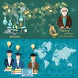 Wetenschap en onderwijs, professoren, studenten internationale, vectorbanners Stock Afbeelding