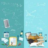 Wetenschap en onderwijs: schoolraad, vectorbanners Stock Afbeeldingen