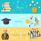 Wetenschap en onderwijsstudenten, banners Stock Fotografie