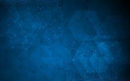 Wetenschap en technologie het ontwerpachtergrond van de conceptenveelhoek Royalty-vrije Stock Foto