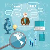 Wetenschap en van de de theoriefysica van de onderwijsprofessor chemieuniversiteit Stock Fotografie