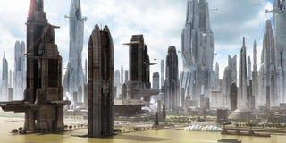 Wetenschap-fictie stadslandschap (steen die schildert) Stock Afbeelding