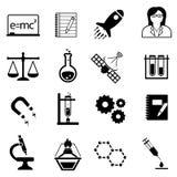 Wetenschap, innovatie en ontdekkingspictogrammen Stock Afbeeldingen