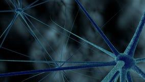 Wetenschap of medische achtergrond met molecules, 3d het teruggeven virus, bacteriën, cel Systeem van neuronen Genetisch, wetensc Stock Afbeelding