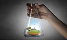 Wetenschap voor het groene gezonde leven Gemengde media stock fotografie