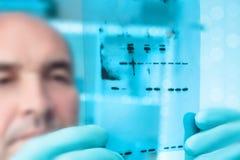 Wetenschappelijke achtergrond: wetenschapper met Röntgenstraalfilm Royalty-vrije Stock Foto