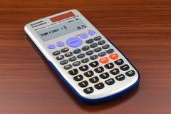 Wetenschappelijke calculator op de houten lijst het 3d teruggeven Stock Fotografie