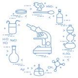 Wetenschappelijke chemie, onderwijselementen Stock Fotografie