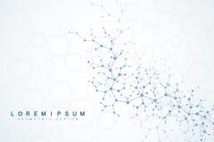 Wetenschappelijke moleculeachtergrond voor geneeskunde, wetenschap, technologie, chemie Behang of banner met een DNA-molecules stock afbeelding