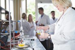 Wetenschappelijke onderzoeker die een chemisch experimentonderzoek doen Wetenschapsstudenten die met chemische producten werken C Stock Foto