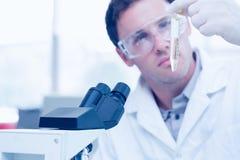 Wetenschappelijke onderzoeker die reageerbuis bekijken terwijl het gebruiken van microscoop in laboratorium Royalty-vrije Stock Foto's