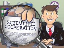 Wetenschappelijke Samenwerking door Magnifier Krabbelconcept vector illustratie