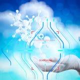 wetenschapper de artsenhand houdt virtuele 3d moleculaire structuur in t Stock Fotografie