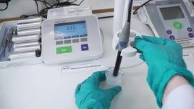 Wetenschapper die beschermende handschoenen voor de behandeling van gevaarlijke substanties en experimenten gebruiken klem Het te stock video