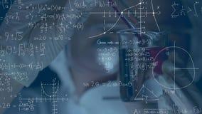 Wetenschapper die chemische producten samen in beker mengen vector illustratie