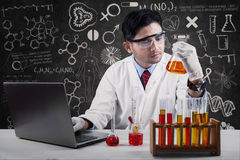 Wetenschapper die de reactie van chemie bekijken Stock Fotografie