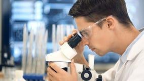 Wetenschapper die door een microscoop in een laboratorium kijken stock video